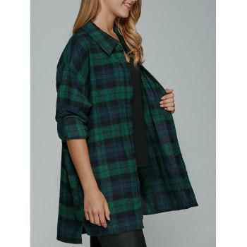 Long Sleeve BF Style Plaid Tunic Shirt