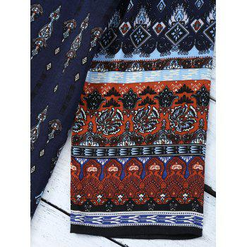 Retro Style Patchwork Printed Mini Tunic Dress - BLUE / BROWN BLUE / BROWN