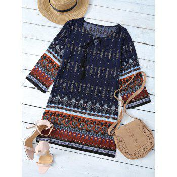 Retro Style Patchwork Printed Mini Tunic Dress - BLUE + BROWN BLUE / BROWN