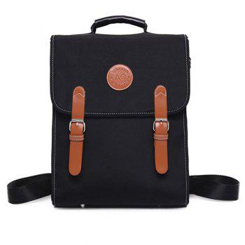 Nylon Color Spliced Double Buckle Backpack