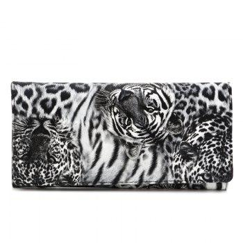 Fermeture Color Block Leopard Print Wallet