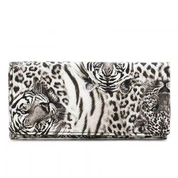 Snap Closure Color Block Leopard Print Wallet - WHITE WHITE