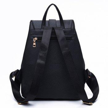 Textured Leather Metal Drawstring Backpack -  BLACK