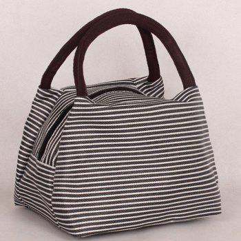 Color Splicing Nylon Pinstripe Tote Bag