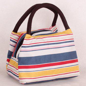 Color Block Nylon Striped Pattern Tote Bag - YELLOW AND RED YELLOW/RED