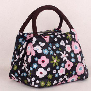 Nylon Color Block Floral Print Tote Bag - BLACK BLACK