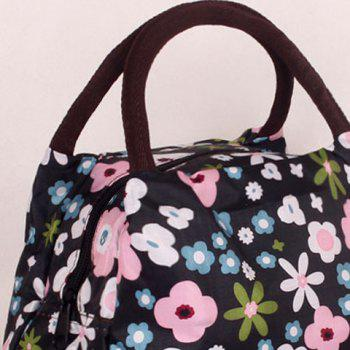Nylon Color Block Floral Print Tote Bag -  BLACK