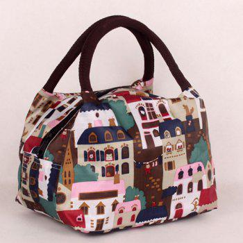 Color Block Zipper House Print Tote Bag