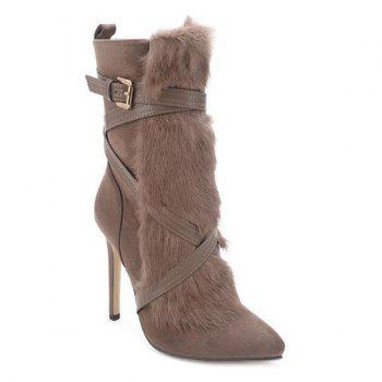 Faxu Fur Cross-Strap Stiletto Heel Boots