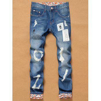 Printed Crimping Appliques Holes Zipper Fly Straight Leg Jeans