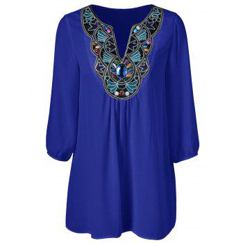 Plus Size Embroidered Rhinestone Embellished Blouse