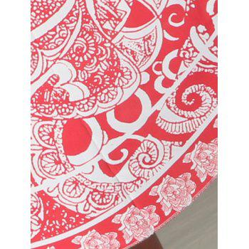 Round Shape Floral Girl Print Beach Throw - RED RED