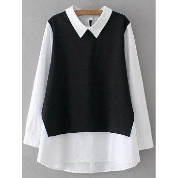 Faux Layered Top - WHITE AND BLACK WHITE/BLACK