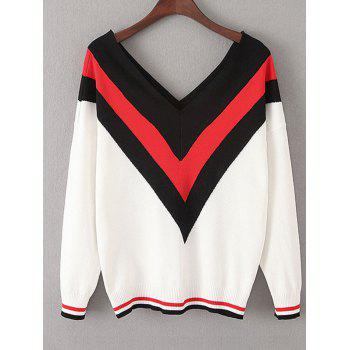 Color Block V Neck Chevron Jumper