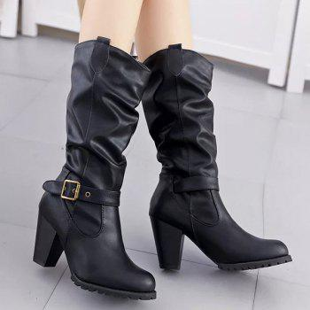 Ruched Buckle Strap Chunky Heel Mid-Calf Boots