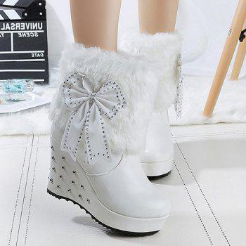 Bowknot Rivet Faux Fur Wedge Boots