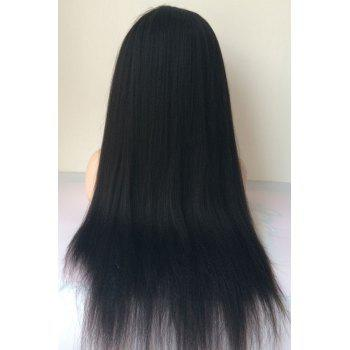 Long Middle Parting Yaki Straight Lace Front Human Hair Wig - JET BLACK