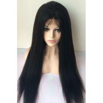 Long Middle Parting Yaki Straight Lace Front Human Hair Wig - JET BLACK JET BLACK