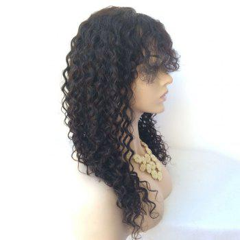Side Parting Long Lace Front Curly Human Hair Wig -  BLACK