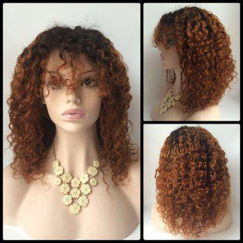 Curly Medium Neat Bang Lace Front Human Hair Wig - COLORMIX COLORMIX