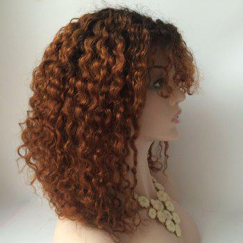 Curly Medium Neat Bang Lace Front Human Hair Wig -  COLORMIX