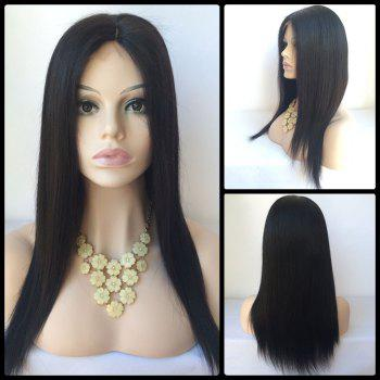 Middle Parting Long Straight Lace Front Human Hair Wig - BLACK BLACK