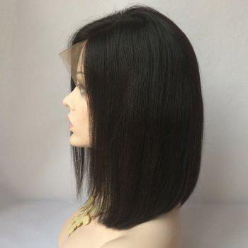 Medium Straight Side Parting Lace Front Human Hair Wig -  BLACK