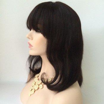Medium Slightly Curled Neat Bang Lace Front Human Hair Wig -  BLACK