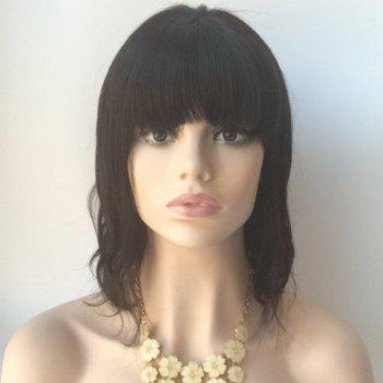 Medium Slightly Curled Neat Bang Lace Front Human Hair Wig