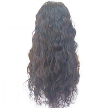 Water Wave Long Lace Front Human Hair Wig -  BLACK