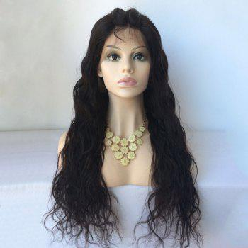 Water Wave Long Lace Front Human Hair Wig - BLACK BLACK