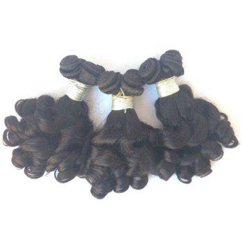 3 Pcs 5A Remy Pure Color Funmi Curly Indian Hair Weaves - BLACK 10INCH*10INCH*12INCH