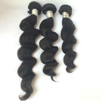 3 Pcs Pure Color 5A Remy Large Deep Wave Indian Hair Weaves - BLACK 16INCH*18INCH*18INCH