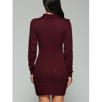 V-cou à manches longues robe pull - Rouge vineux S