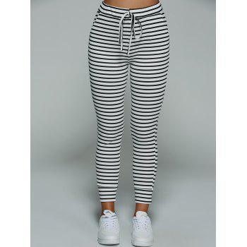 Casual Drawstring Striped Pants