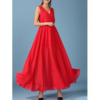 V Neck Sleeveless Chiffon Maxi Surplice Dress