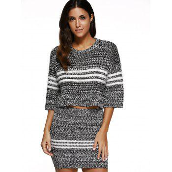 Striped Cropped Sweater and Bodycon Mini Skirt - GRAY ONE SIZE