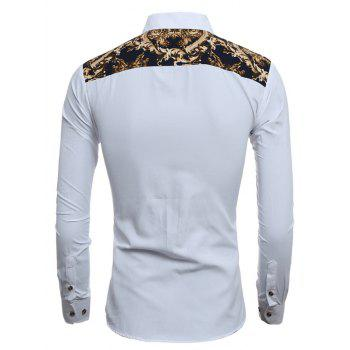 3D Retro Printed Slim-Fit Shirt - WHITE L