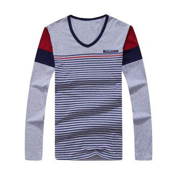 Color Splicing Striped Long Sleeve T-Shirt - GRAY XL
