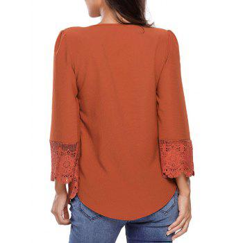 Lacework Splicing Single-Breasted Blouse - DEEP ORANGE S