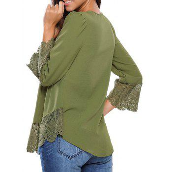 Lacework Splicing Single-Breasted Blouse - ARMY GREEN M