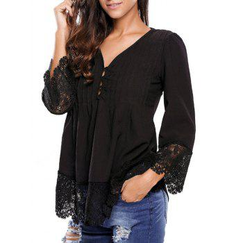 Lacework Splicing Single-Breasted Blouse - BLACK S