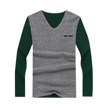 Fake Pocket Embellished Long Sleeve Color Splicing T-Shirt - BLACKISH GREEN M
