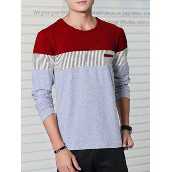 Striped Round Neck Color Splicing Long Sleeve T-Shirt - GRAY 3XL