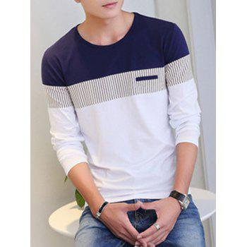 Striped Round Neck Color Splicing Long Sleeve T-Shirt - WHITE 2XL