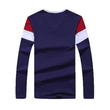 Color Splicing Striped Long Sleeve T-Shirt - SAPPHIRE BLUE M