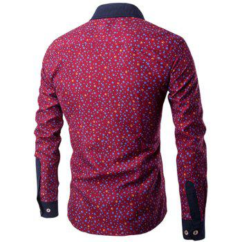 Bubble Print Long Sleeve Contrast Collar Shirt - WINE RED L