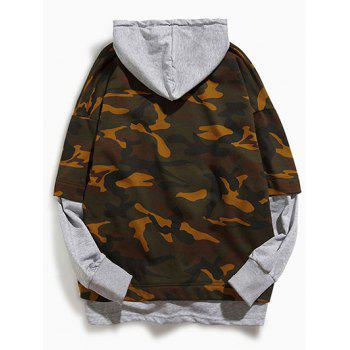 Long Sleeve Camouflage Pattern Faux Twinset Hoodie - LIGHT GRAY M