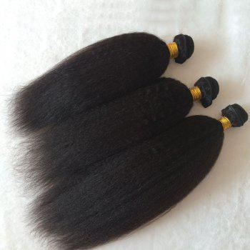 3 Pcs Kinky Straight Pure Color 5A Remy Indian Hair Weaves - BLACK 10INCH*10INCH*12INCH