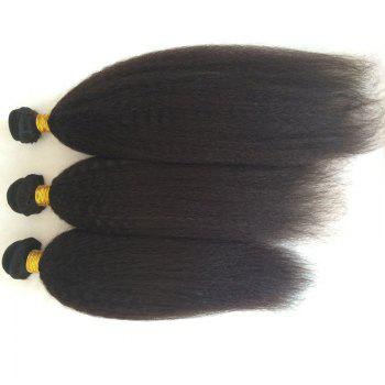 3 Pcs Kinky Straight Pure Color 5A Remy Indian Hair Weaves - BLACK BLACK